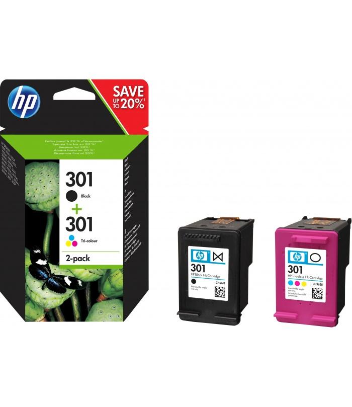 HP 301 2 szt. Oryginalny Standardowa wydajność Czarny, Błękitny, Purpurowy, Żółty