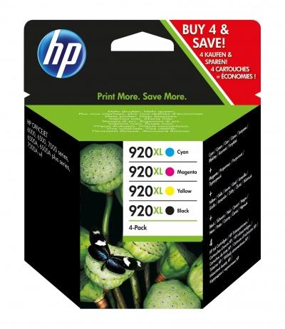 HP 920XL 4 szt. Oryginalny Wysoka (XL) wydajność Czarny, Błękitny, Purpurowy, Żółty